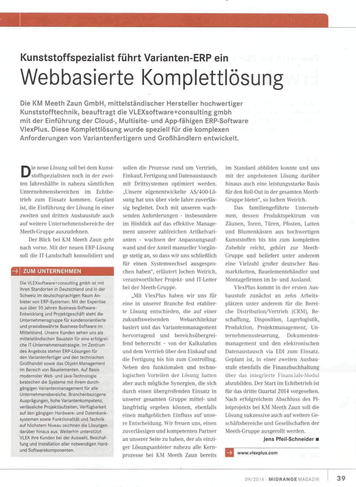 Kunststoff-Spezialist KM Meeth Zaun führt Varianten-ERP VlexPlus ein ...