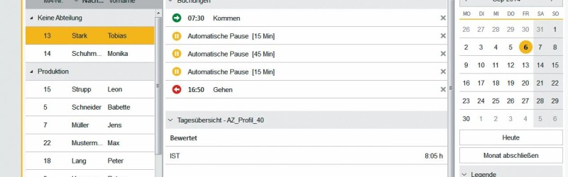 timeCard Zeiterfassungsmaske (Quelle: REINER SCT)