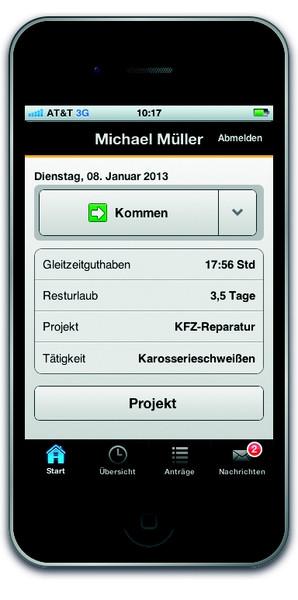 Mobile Zeiterfassung z.B. über die timeCard-App von REINER SCT