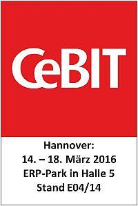 CeBIT Logo: Auf der CeBIT (14. – 18. März 2016 in Hannover) ist das VlexPlus Team im ERP-Park in Halle 5 am Stand E04/14 vertreten.
