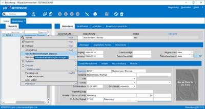 Screenshot pds Personalmanagement: Die Kommunikation mit dem Bewerber erfolgt direkt automatisiert direkt aus dem System heraus.
