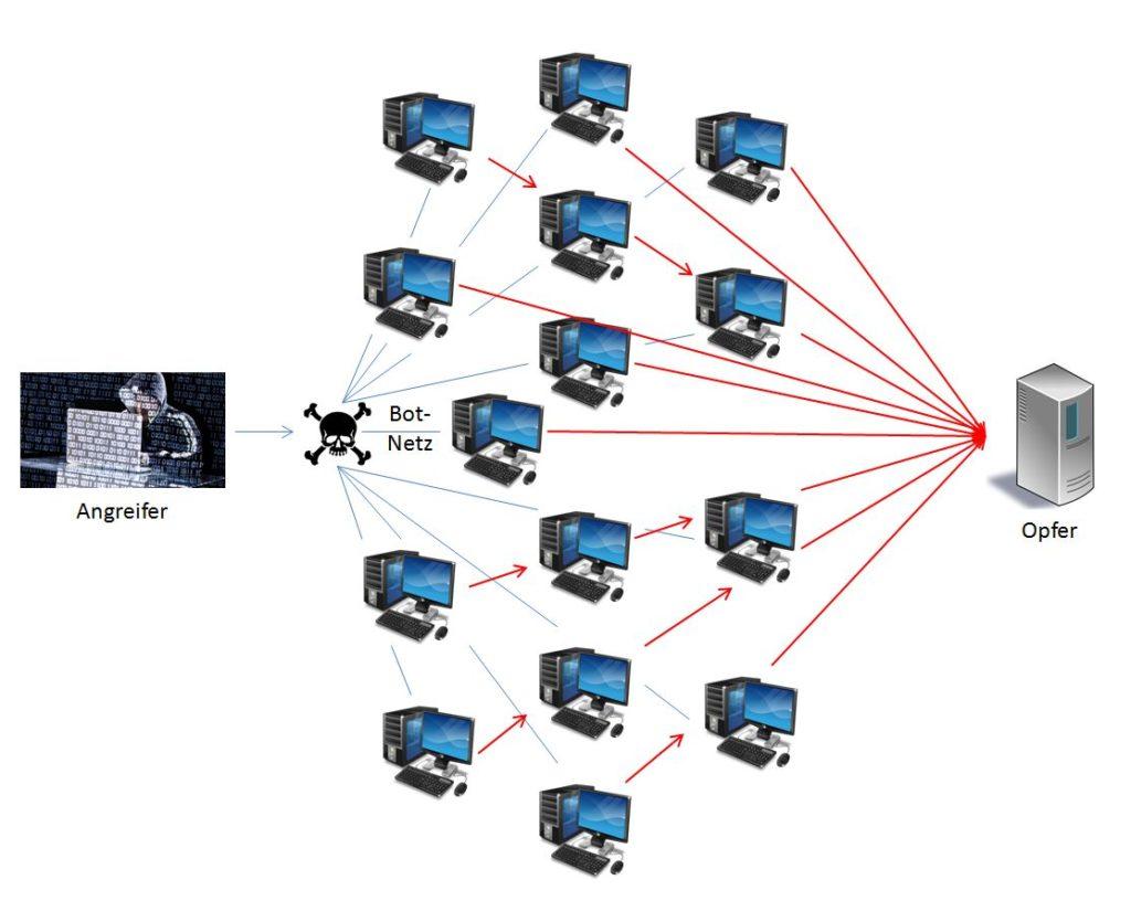 """Schema: Für die DoS / DDoS Attacke machen sich Angreifer Sicherheitslücken von PCs zunutze, um Schadsoftware zu installieren, diese zu einem jederzeit aktivierbaren """"Bot-Netz"""" zusammenzuschließen und schließlich gezielte Angriffe auf den Zielserver auszuüben."""