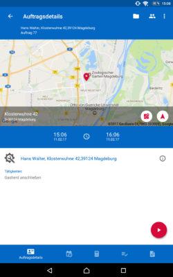 Screenshot: Auftragskonsole der pds Service-App