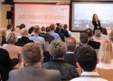 """Wie der Handwerksbetrieb der Zukunft aussieht und welche digitalen Helfer schon heute Realität sind, zeigten die pds Spezialisten auf der bundesweiten Eventreihe """"pds Impuls @ Stadion""""."""