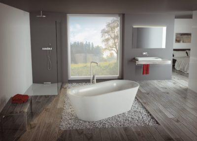 Das Leistungsspektrum von Schmidlin umfasst u.a. Badewannen, Duschwannen, Duschflächen und Waschtische – im Standard oder individuell nach Maß konfiguriert.