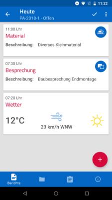 Handwerkersoftware mobil: Screenshot pds Projekt App