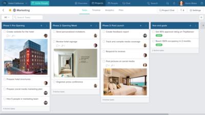 Beispiel-Screenshot für Marketingprojekte bei Hotelereröffnungen (Bild: Taskworld Inc.)