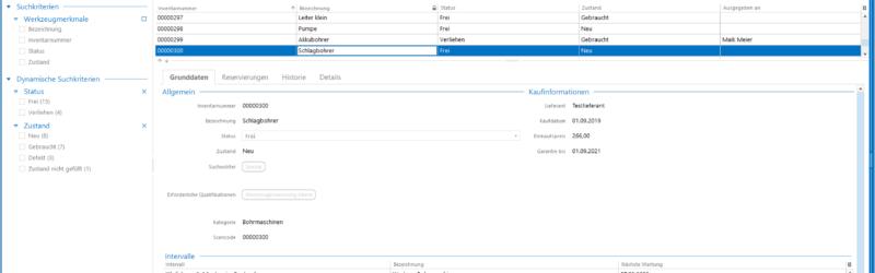 Screenshot: Werkzeugverwaltung in der pds Software (Bild: pds GmbH)