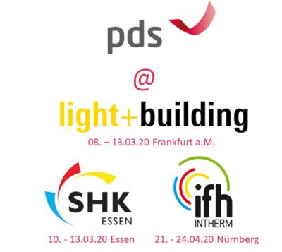 pds auf der light + building, SHK Essen und ifh Intherm 2020