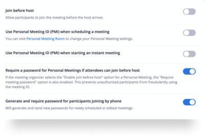 Abbildung 2: Host-Einstellung in Zoom-Konferenzen