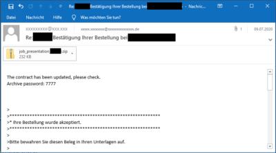 Beispiel: GandCrab Schad-E-Mail mit verschlüsseltem Anhang (Bild: Hornetsecurity)