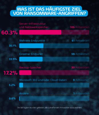 Häufigste Ziele von Ransomware-Angriffen (Bild: Hornetsecurity GmbH)